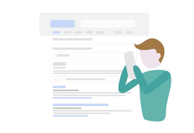 Illustration - Person agiert mit Smartphone auf einer Webseite