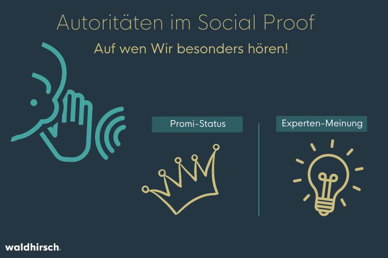 Grafik zur Illustration der Autoritäten beim Social Proof - Promi-Status und Expertenmeinung