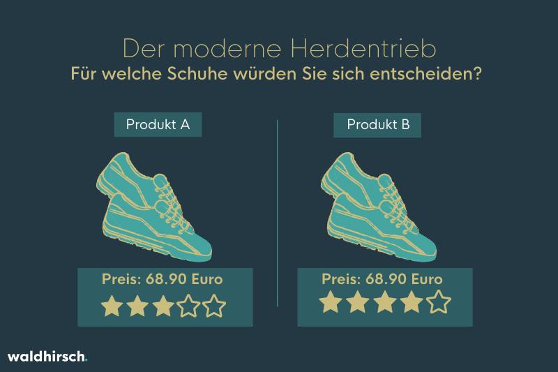 Grafik von zwei Paar Schuhe mit Bewertungssternen zur Illustration des Social Proof