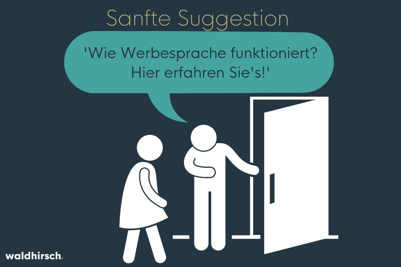 Bild zur Darstellung von der Wirkungsweise von suggestiver Sprache - eine Person hält einer anderen die Tür auf