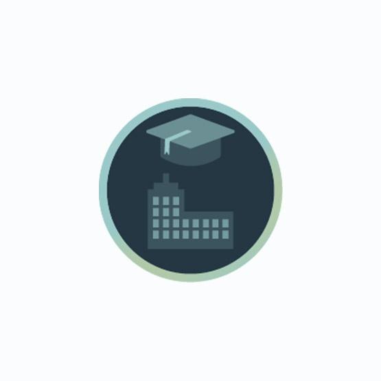 Icon mit Absolventen-Kappe und Gebäude zur Darstellung von Inhouse-Schulungen
