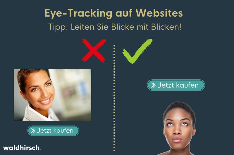 Grafik zur Darstellung von den Eye-Tracking Erkenntnissen zu Gesichtern auf Websites