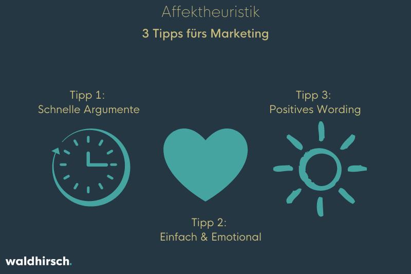 Grafik mit einer Uhr, einem Herzen und einer Sonne zur Darstellung der Tipps zum Thema Affektheuristik